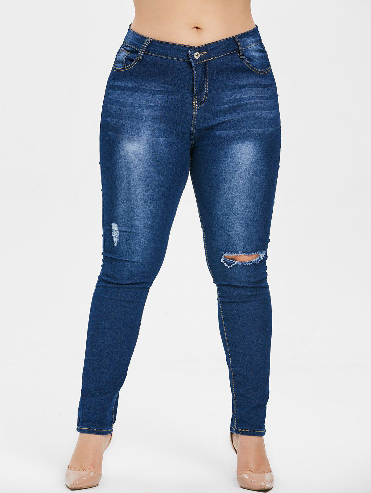 Shops Plus Size Ripped Dark Wash Jeans