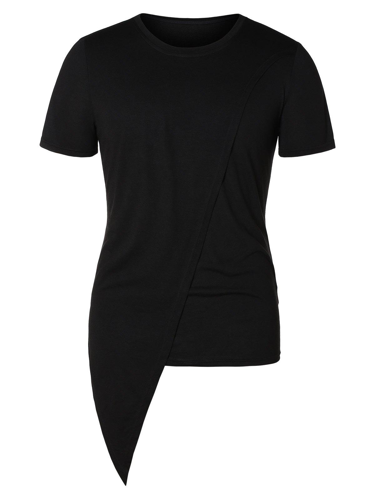 Sale Asymmetric Round Neck Short Sleeve Top