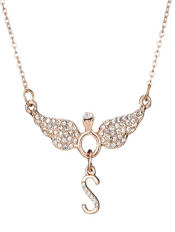 Affordable Rhinestone Letter S Wing Shape Necklace