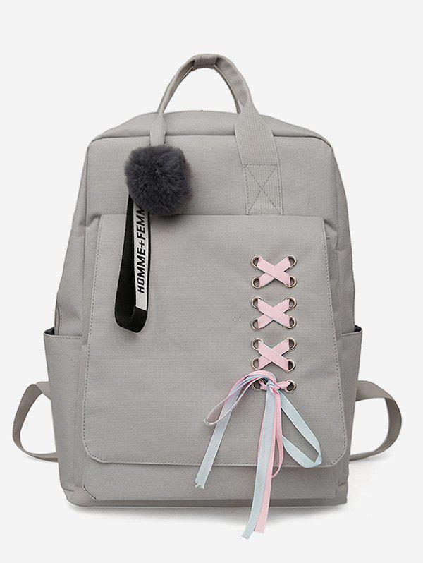 Trendy Ribbon Embellished Zipper Backpack
