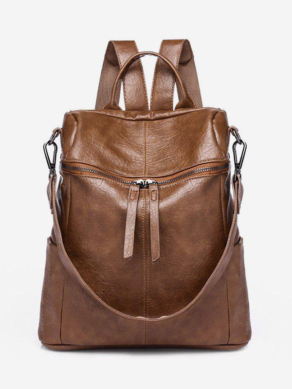 Discount Vintage Wrinkled Faux Leather Zipper Backpack