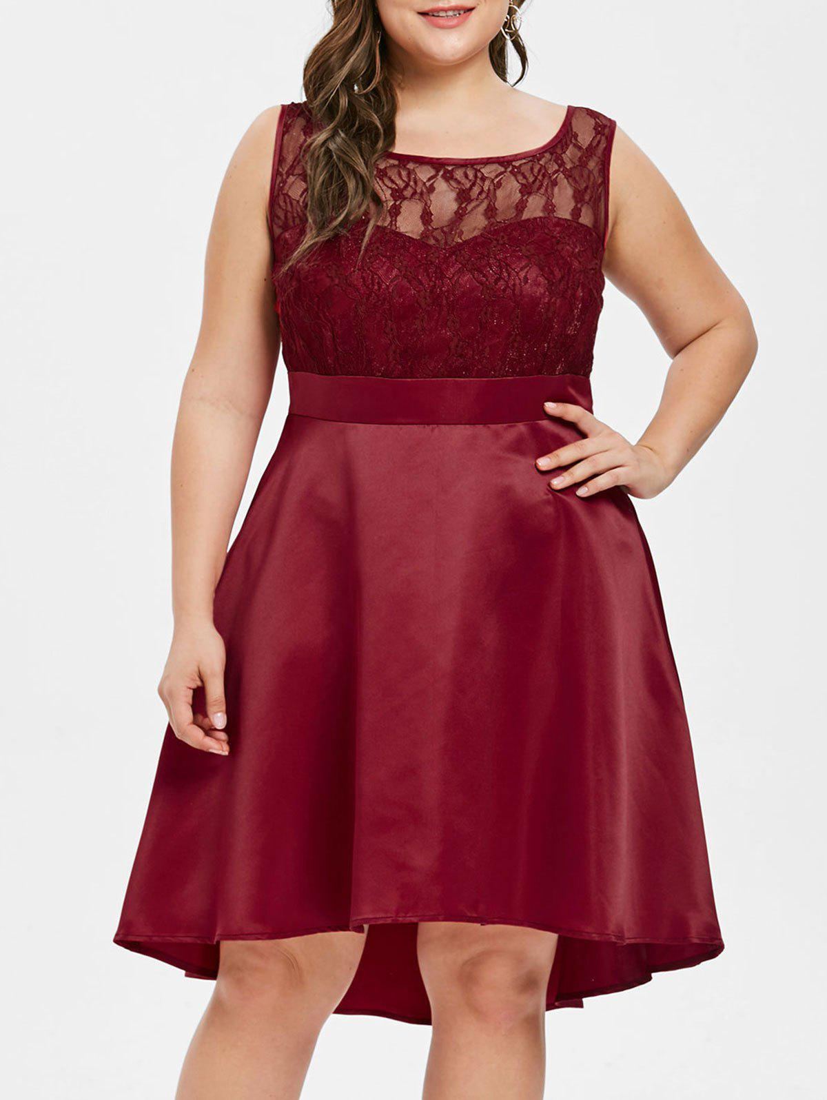 d2dd1397644 2019 Tied Detail Plus Size Lace Panel A Line Dress