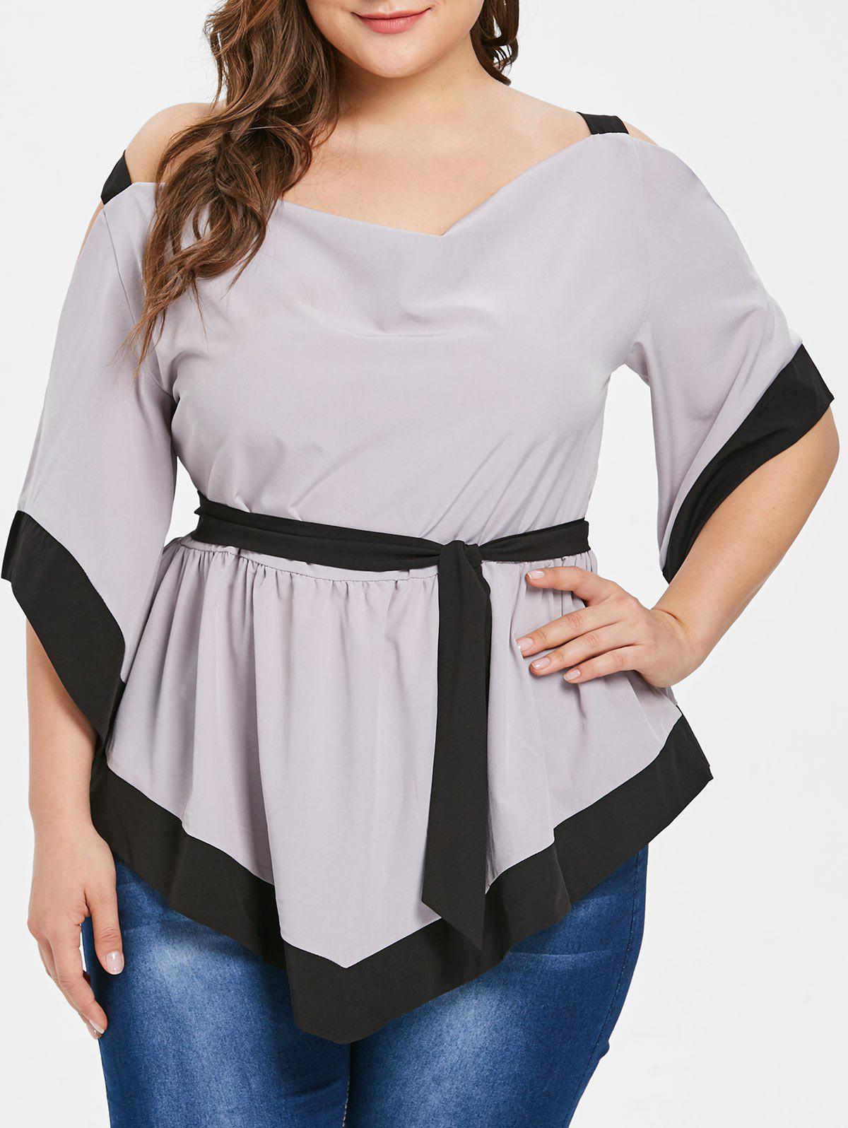 Unique Two Tone Plus Size Belted Open Shoulder Blouse