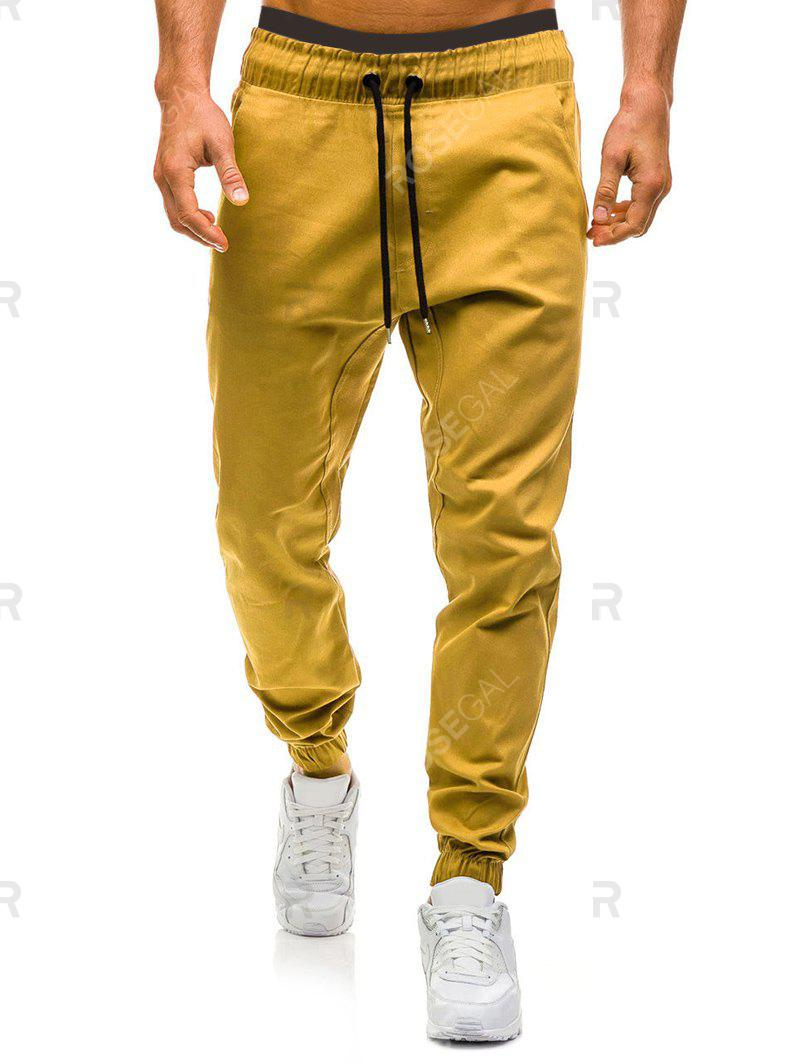 Hot Solid Color Elastic Waist Drawstring Jogger Pants