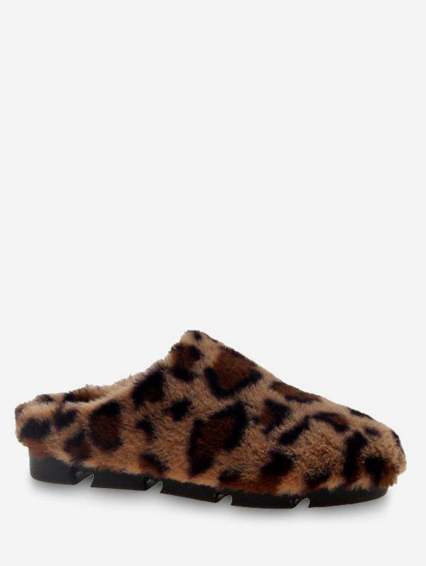Outfit Leopard Fuzzy Slingback Flats