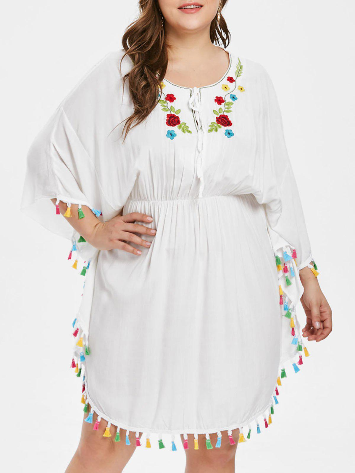 Best Tassel Plus Size Embroidered Batwing Dress