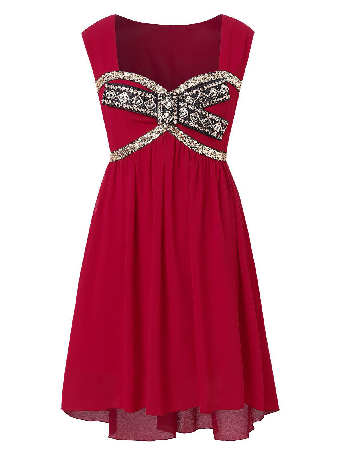 d68eafa7d7f 35% OFF  Sweetheart Neck Plus Size Sequin Embellished Party Dress ...
