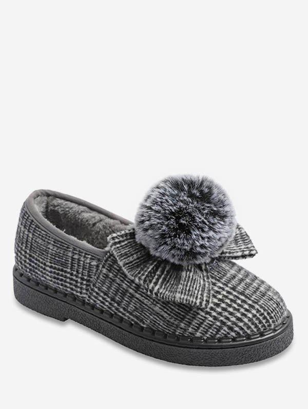 Unique Fuzzy Ball Bowknot Plaid Flats