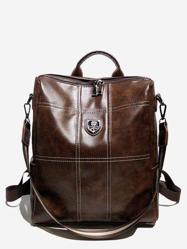 Unique College Style Faux Leather Zipper Backpack