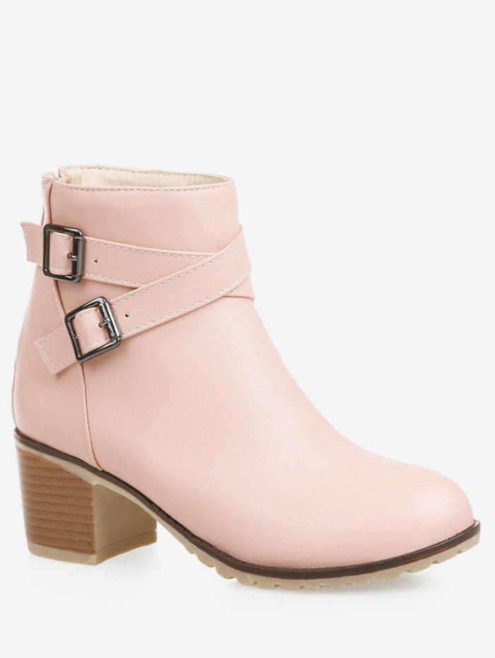 Fashion Plus Size Strap Wrap Stacked Heel Ankle Boots
