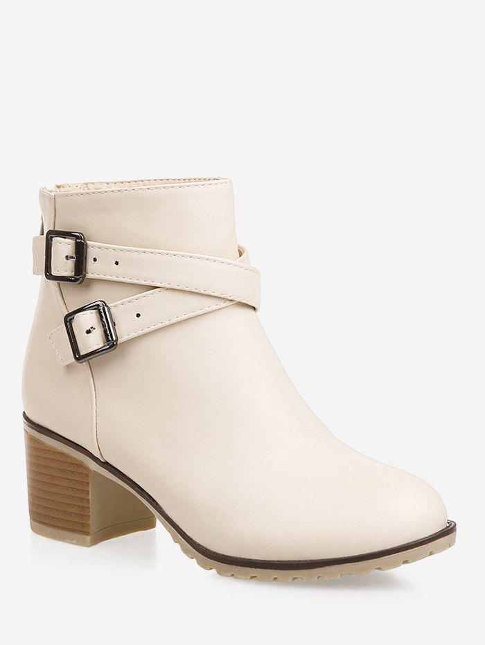 Fancy Plus Size Strap Wrap Stacked Heel Ankle Boots