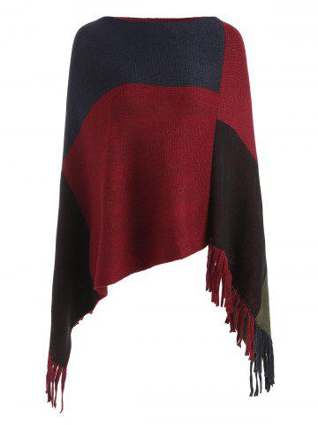 Asymmetric Fringed Contrast Cape Sweater