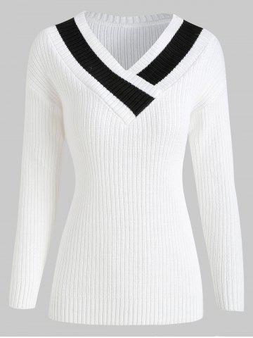 Contrast Ribbed Pullover Sweater