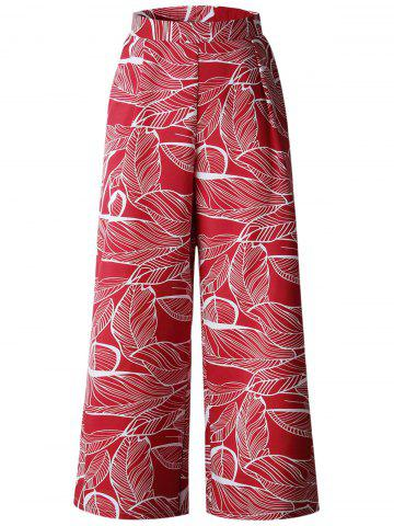 High Waist Leaves Print Wide Leg Pants