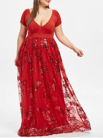 Plus Size Floral Sequined Maxi Prom Dress - RED WINE - XL