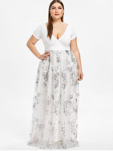 522ca7a58 Plus Size Floral Sequined Maxi Prom Dress