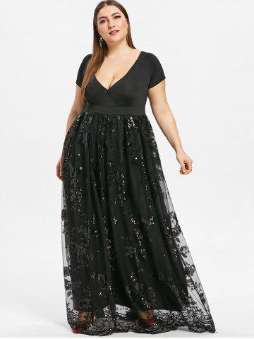 Plus Size Floral Sequined Maxi Prom Dress