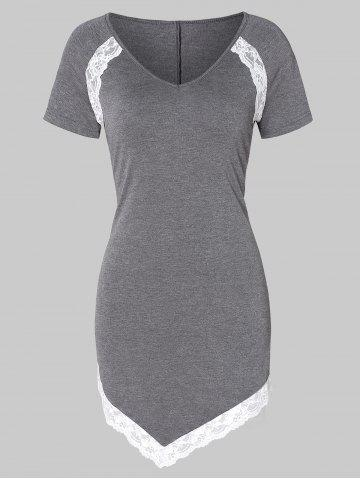 Lace Panel Asymmetrical T Shirt