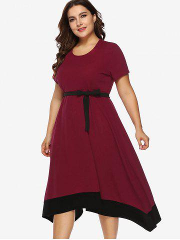 Contrasting Trim Plus Size Asymmetrical Dress with Belt