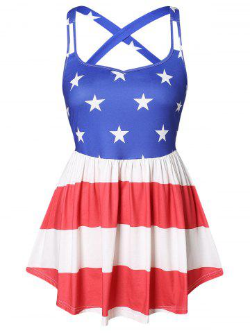 American Flag Print Plus Size Tank Top