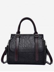 PU Leather Zip Tote Bag With Strap -