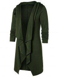 Open Front Solid Hooded Coat -