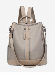 Zipper Backpack with PU Panel -