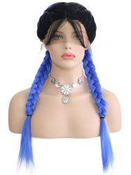 Center Parting Ombre Double Braids Lace Front Wig -