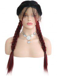 Middle Part Colormix Double Braids Synthetic Lace Front Wig -