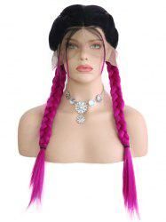 Middle Part Ombre Double Braids Synthetic Lace Front Wig -