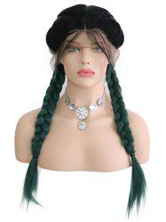 Center Parting Ombre Double Braids Synthetic Lace Front Wig -