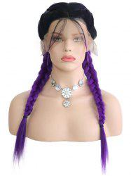 Center Parting Colormix Double Braids Synthetic Lace Front Wig -