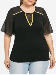 Plus Size Sheer Mesh Sleeve Squined T-shirt -