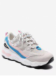 Color Block Mesh Trim Platform Sneakers -