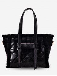 Fuzzy Patchwork Diamond Pattern Shoulder Bag -