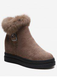 Hidden Wedge Fuzzy Decor Ankle Boots -