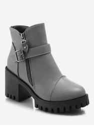 Platform Mid Chunky Heel Ankle Boots -