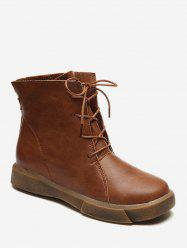 Faux Leather Flat Short Boots -