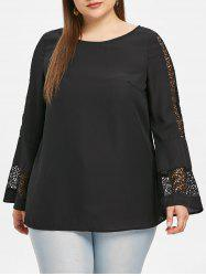 Plus Size Lace Insert Bell Sleeve Blouse -