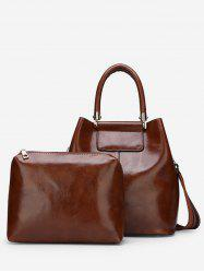 Solid 2 Piece PU Tote Bag Set -