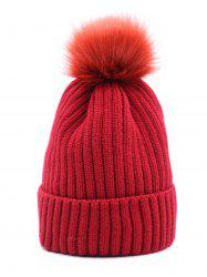 Winter Fuzzy Ball Decoration Knitted Hat -