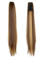 Long Straight Synthetic Claw Clip in Ponytail -