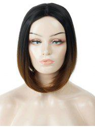 Middle Part Short Ombre Straight Bob Capless Synthetic Wig -