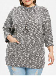 Chandail Pull Grande Taille à 3/4 Manches -