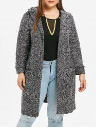 Plus Size Open Front Hooded Coat -