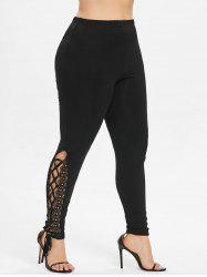 52eed24809a8c 33% OFF] Plus Size High Waist Lace Up Leggings | Rosegal