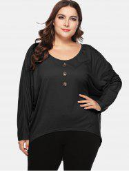 Button Embellished Plus Size High Low T-shirt -