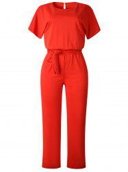 Short Sleeve Belted Straight Jumpsuit -