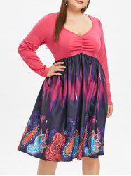 Plunge Plus Size Paisley Print A Line Dress -