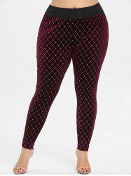 Geometric Pattern Plus Size Velvet Panel Leggings -